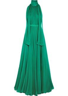 Alexander Mcqueen Woman Crinkled Silk-chiffon Halterneck Gown Jade