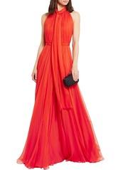 Alexander Mcqueen Woman Crinkled Silk-chiffon Halterneck Gown Red
