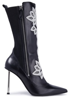 Alexander Mcqueen Woman Crocheted Lace-trimmed Leather Ankle Boots Black