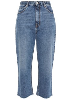 Alexander Mcqueen Woman Cropped High-rise Straight-leg Jeans Mid Denim
