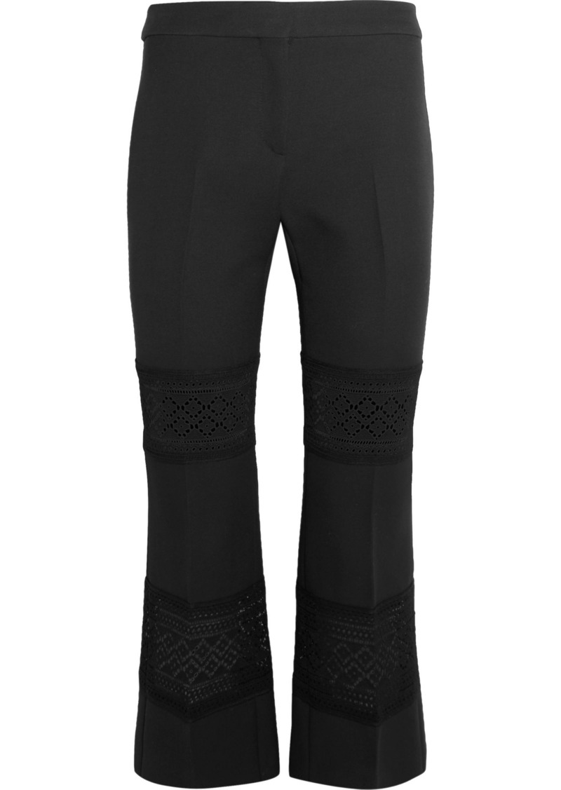 Alexander Mcqueen Woman Cropped Macramé-paneled Wool And Silk-blend Flared Pants Black