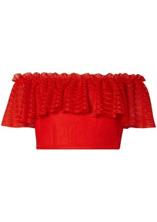 Alexander Mcqueen Woman Cropped Off-the-shoulder Lace And Open-knit Top Red