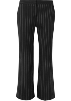 Alexander Mcqueen Woman Cropped Pinstriped Wool-blend Flared Pants Black