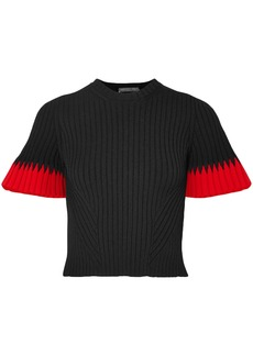 Alexander Mcqueen Woman Cropped Ribbed Intarsia-knit Sweater Black