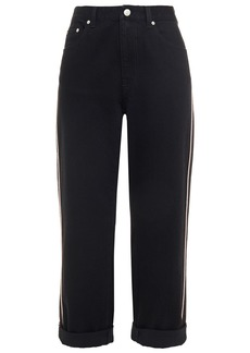 Alexander Mcqueen Woman Cropped Striped Boyfriend Jeans Black