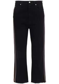 Alexander Mcqueen Woman Cropped Striped High-rise Straight-leg Jeans Black