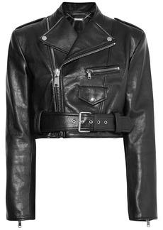 Alexander Mcqueen Woman Cropped Textured-leather Biker Jacket Black