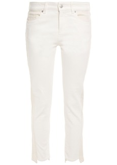 Alexander Mcqueen Woman Cropped Two-tone Mid-rise Skinny Jeans Ivory