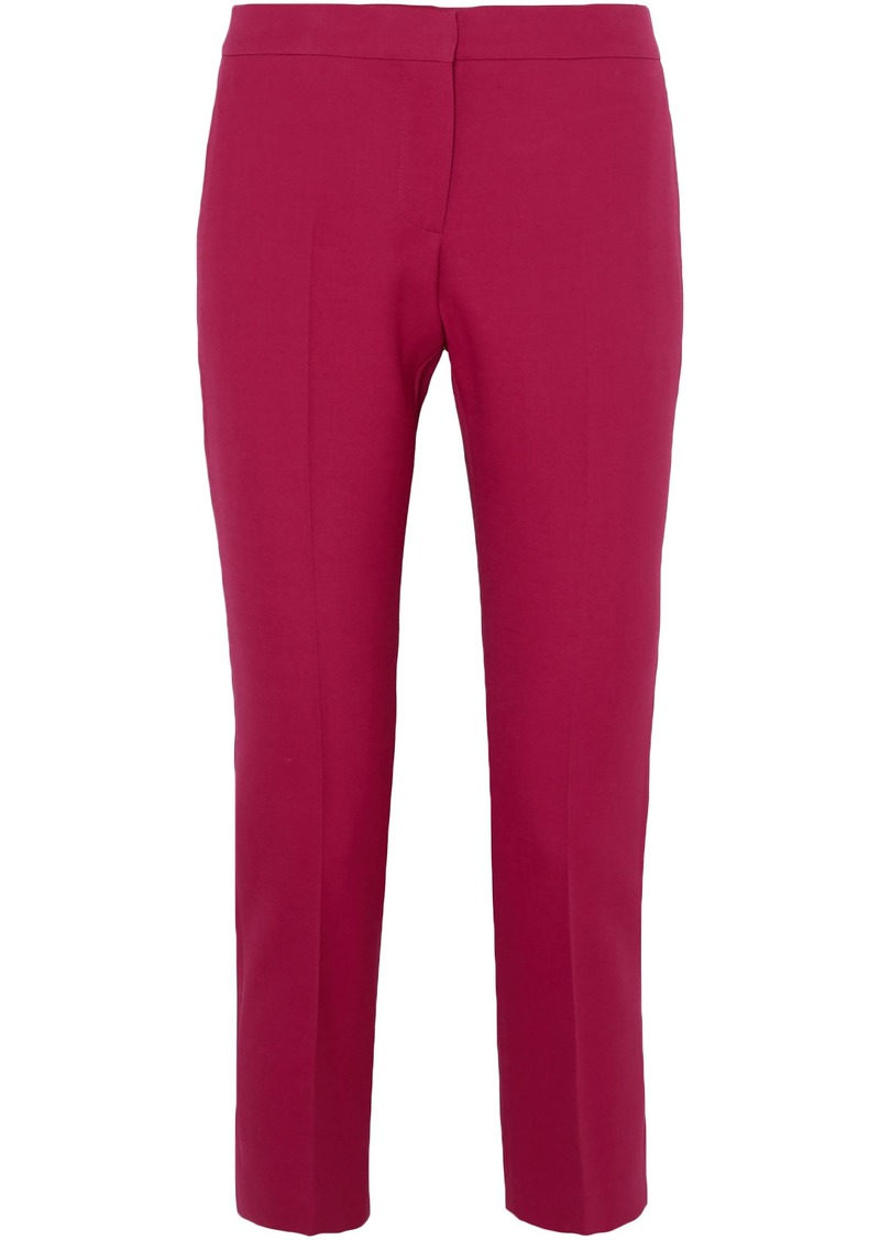 Alexander Mcqueen Woman Cropped Wool-blend Straight-leg Pants Magenta