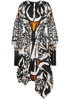 Alexander Mcqueen Woman Asymmetric Cutout Printed Silk Crepe De Chine Midi Dress Ecru