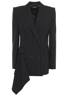 Alexander Mcqueen Woman Double-breasted Draped Pinstriped Wool-blend Blazer Black