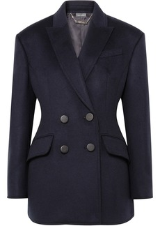 Alexander Mcqueen Woman Double-breasted Wool-felt Blazer Navy