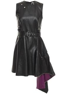 Alexander Mcqueen Woman Draped Leather Mini Dress Black