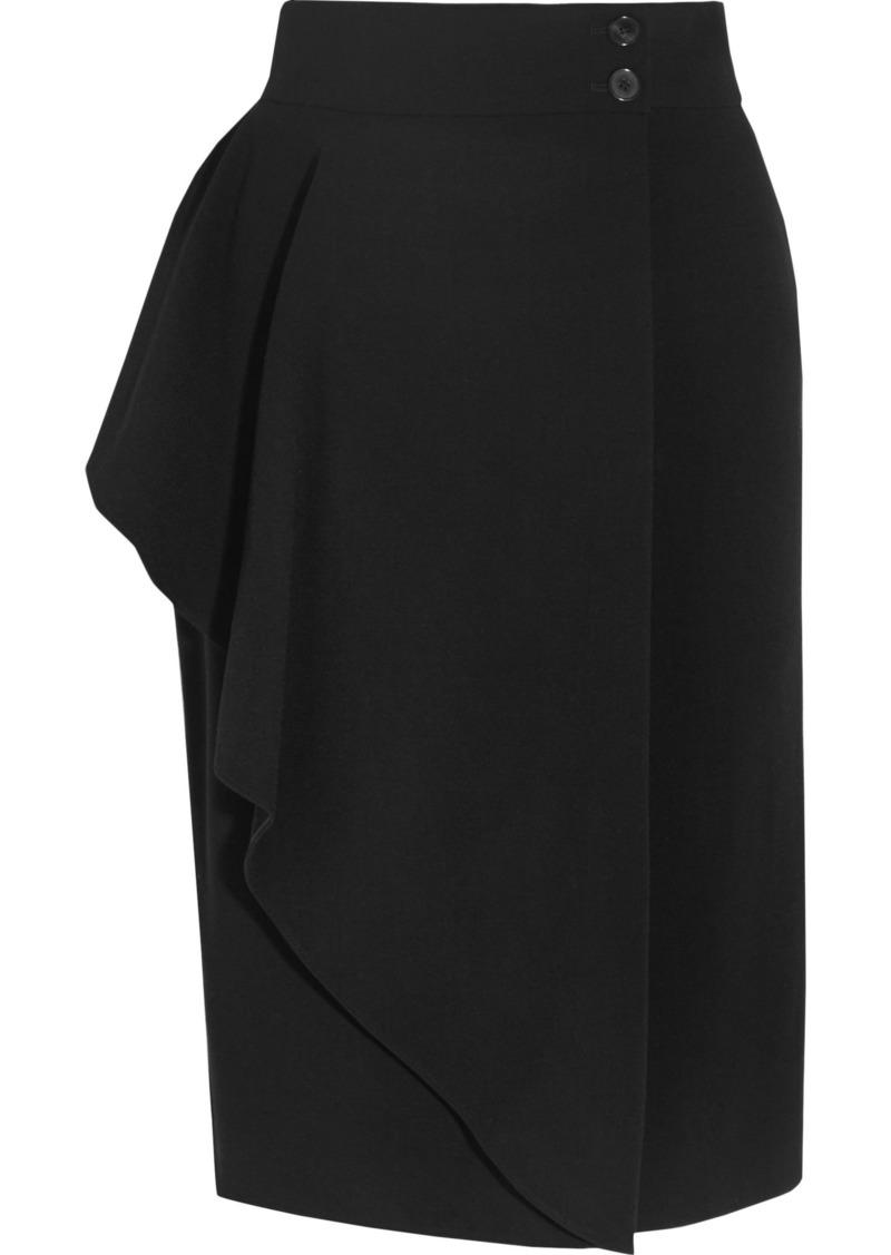 Alexander Mcqueen Woman Draped Stretch-crepe Wrap Skirt Black