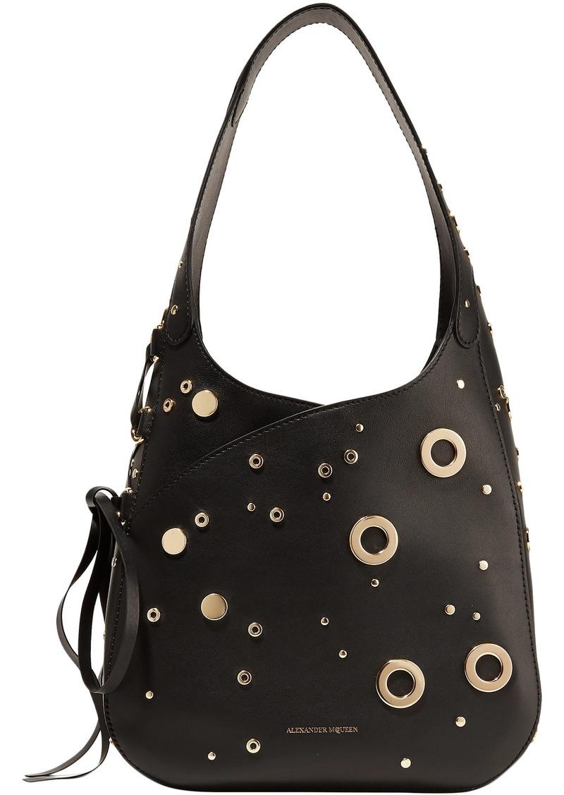 Alexander Mcqueen Woman Embellished Leather Shoulder Bag Black