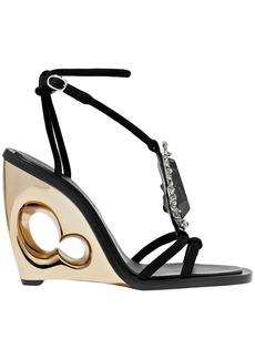 Alexander Mcqueen Woman Embellished Suede Wedge Sandals Black