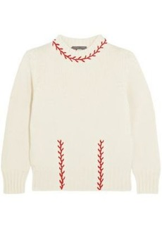 Alexander Mcqueen Woman Embroidered Cashmere Sweater Cream