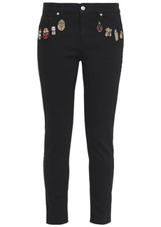 Alexander Mcqueen Woman Embroidered Mid-rise Slim-leg Jeans Black