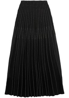 Alexander Mcqueen Woman Embroidered Pleated Silk Maxi Skirt Black