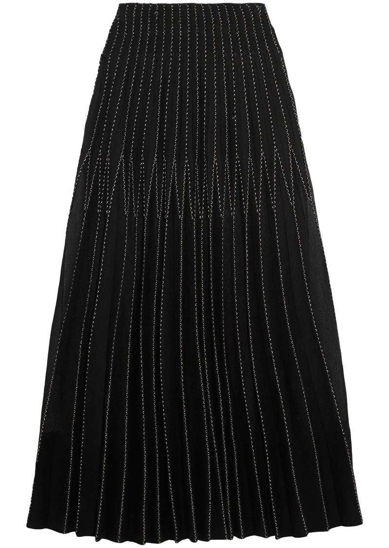 Alexander Mcqueen Woman Embroidered Pleated Silk Maxi Skirt Black