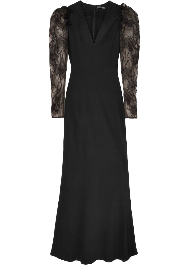 Alexander Mcqueen Woman Embroidered Tulle And Crepe Gown Black