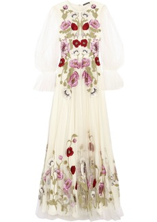 Alexander Mcqueen Woman Embroidered Tulle Gown White