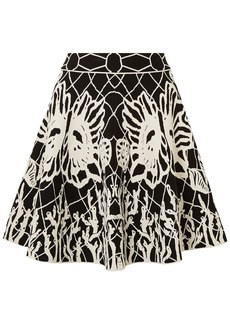 Alexander Mcqueen Woman Flared Jacquard-knit Mini Skirt Black