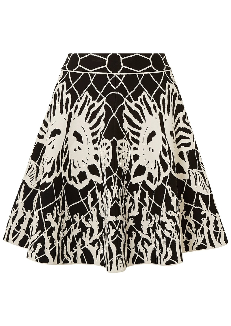 Alexander Mcqueen Woman Fluted Jacquard-knit Mini Skirt Black