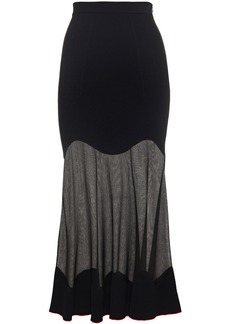 Alexander Mcqueen Woman Fluted Burnout-effect Ribbed-knit Midi Skirt Black