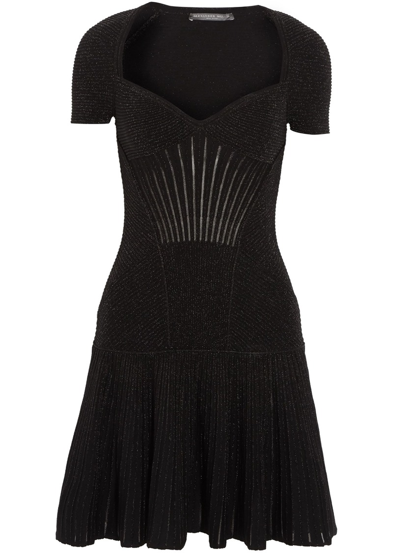 Alexander Mcqueen Woman Fluted Metallic Ribbed Wool-blend Mini Dress Black