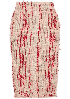 Alexander Mcqueen Woman Frayed Bouclé-tweed Pencil Skirt Pink