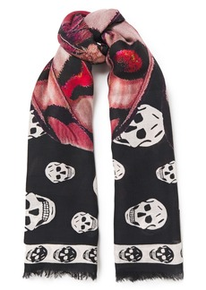 Alexander Mcqueen Woman Frayed Printed Modal And Wool-blend Scarf Black