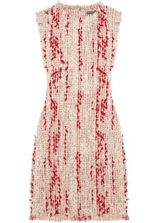 Alexander Mcqueen Woman Frayed Tweed Mini Dress Pastel Pink