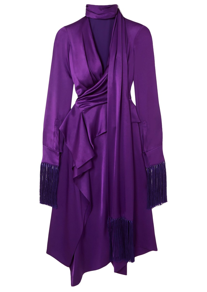 Alexander Mcqueen Woman Fringed Cutout Silk-satin Midi Dress Purple