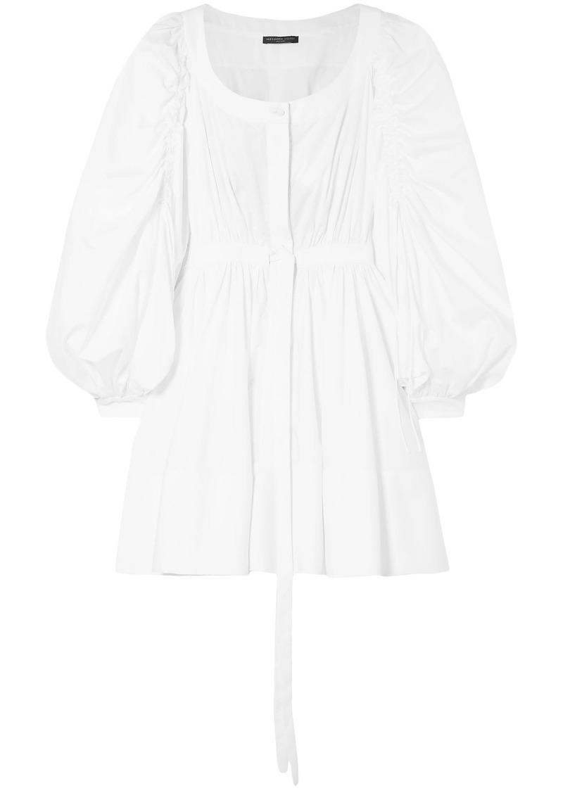 Alexander Mcqueen Woman Gathered Cotton-poplin Mini Dress White