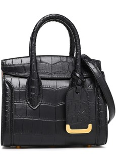 Alexander Mcqueen Woman Heroine Croc-effect Leather Shoulder Bag Black
