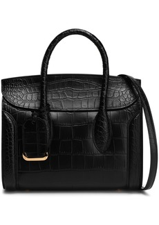 Alexander Mcqueen Woman Heroine Croc-effect Leather Tote Black