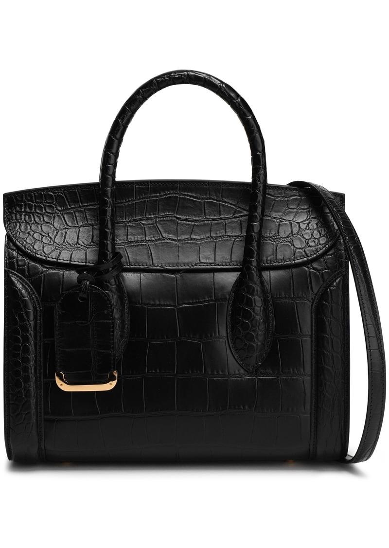 Alexander Mcqueen Woman Heroine Croc-effect Leather Tote Black