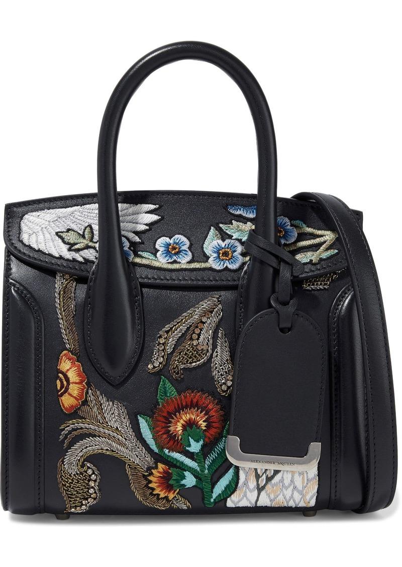 Alexander Mcqueen Woman Heroine Embellished Leather Shoulder Bag Black
