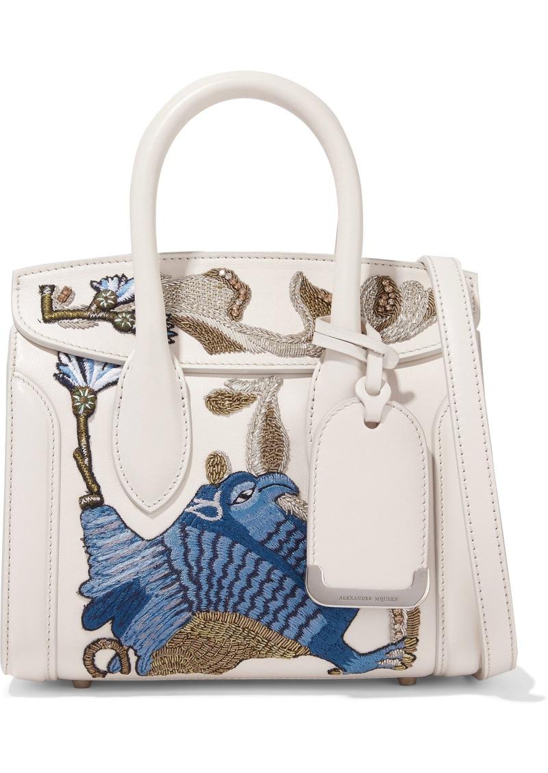 Alexander Mcqueen Woman Heroine Embellished Leather Shoulder Bag Off-white