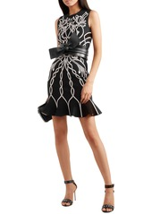 Alexander Mcqueen Woman Jacquard-knit Mini Dress Black