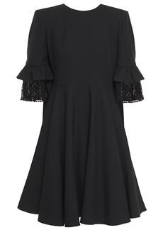 Alexander Mcqueen Woman Lace-trimmed Ruffled Wool-blend Crepe Mini Dress Black