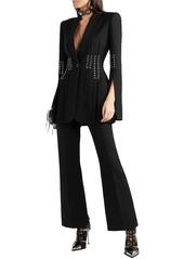 Alexander Mcqueen Woman Lace-up Grain De Poudre Bootcut Pants Black