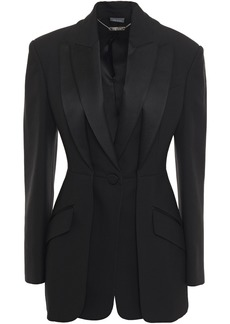 Alexander Mcqueen Woman Layered Satin-trimmed Wool-blend Crepe Blazer Black