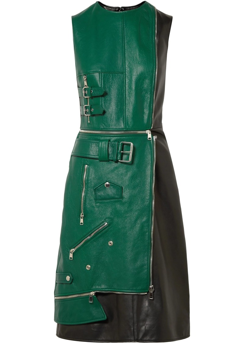 Alexander Mcqueen Woman Layered Zip-detailed Two-tone Leather Dress Forest Green
