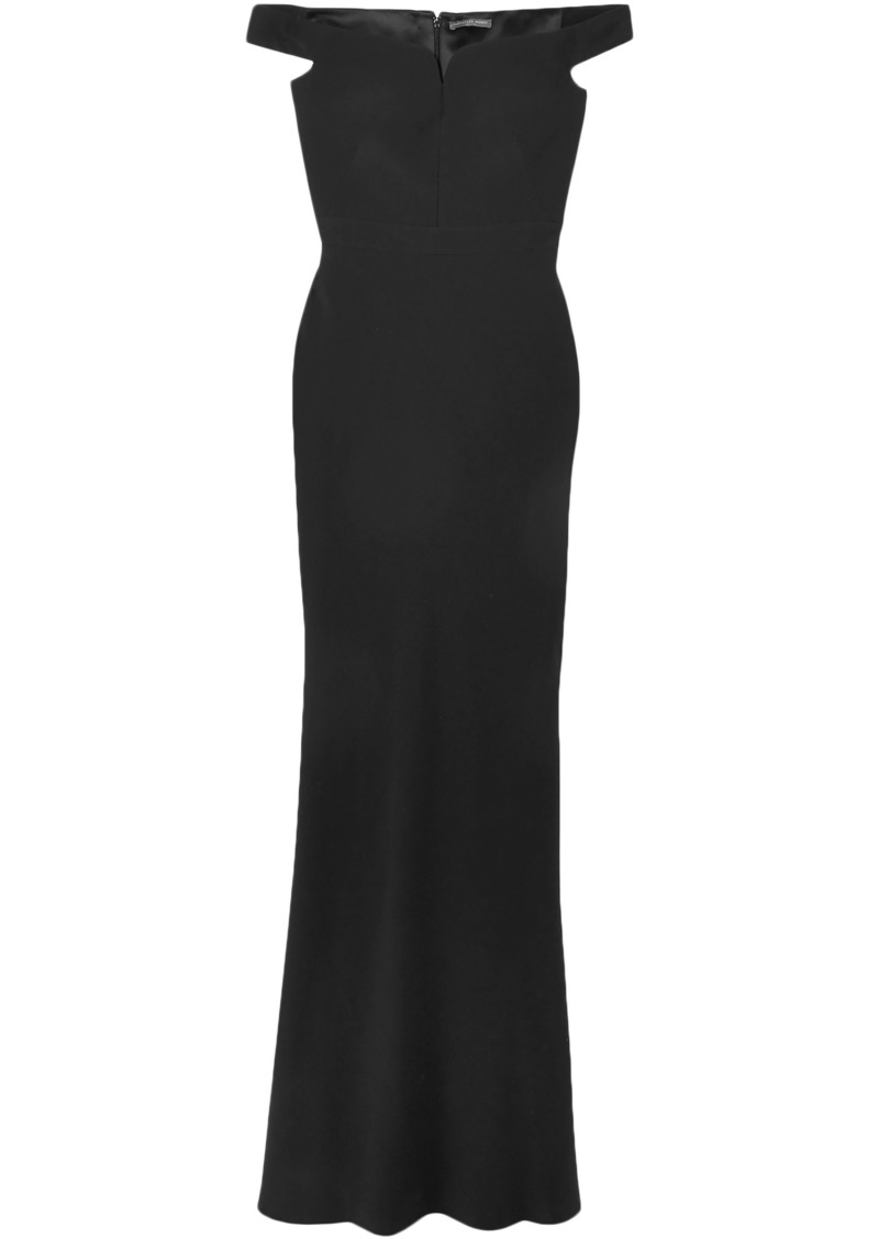 Alexander Mcqueen Woman Leaf Off-the-shoulder Crepe Gown Black