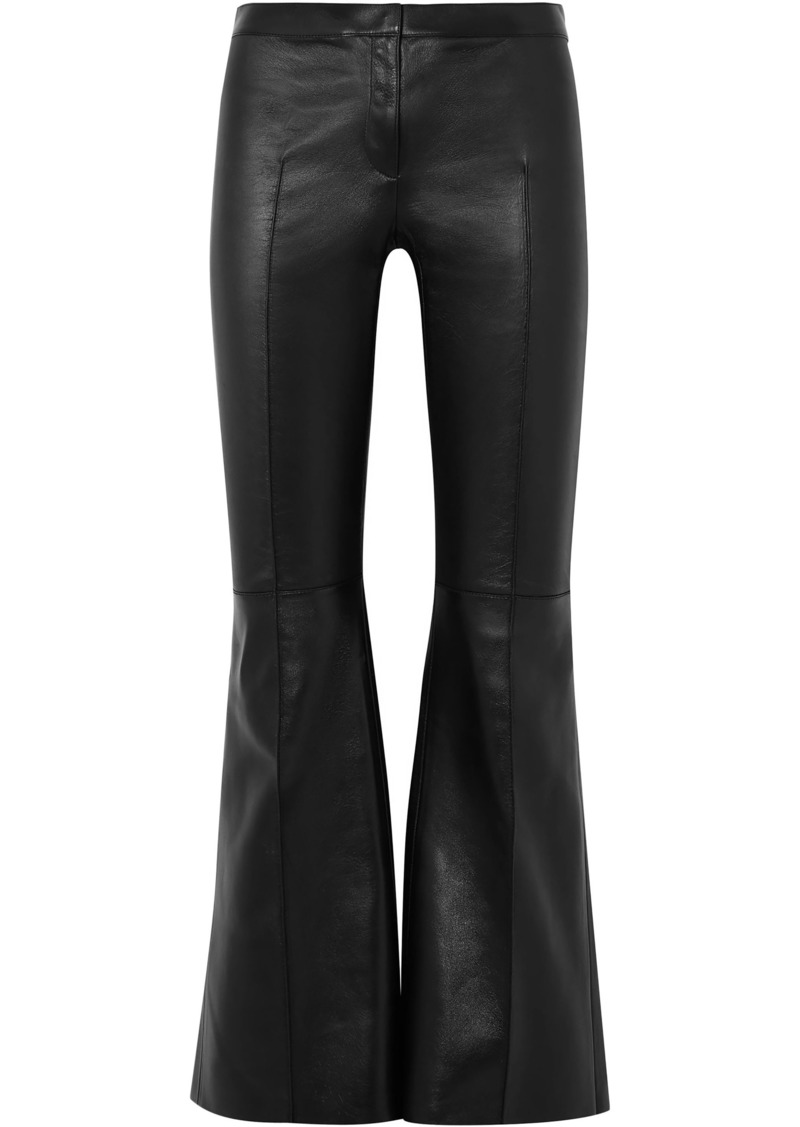 Alexander Mcqueen Woman Leather Kick-flare Pants Black