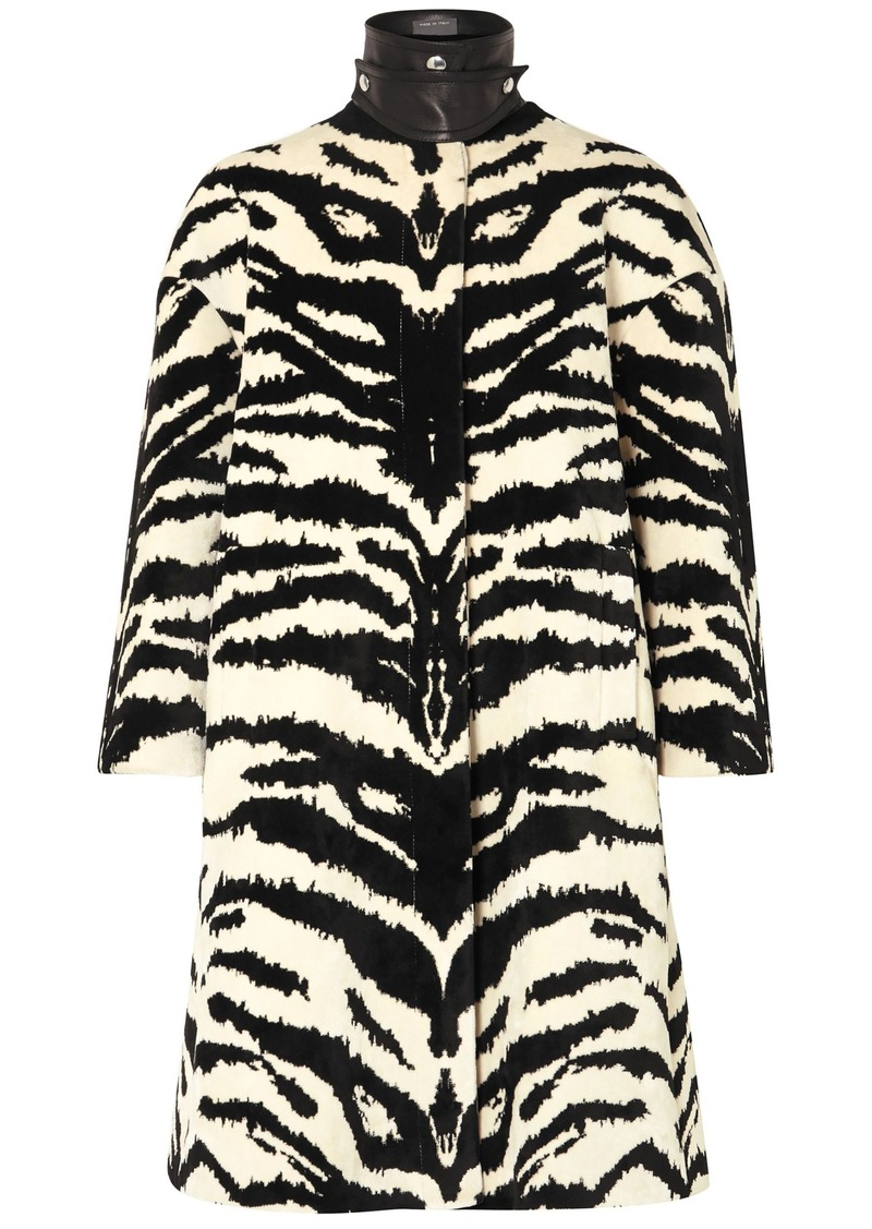 Alexander Mcqueen Woman Leather-trimmed Zebra-jacquard Coat Ivory