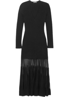 Alexander Mcqueen Woman Mesh-paneled Ribbed-knit Dress Black
