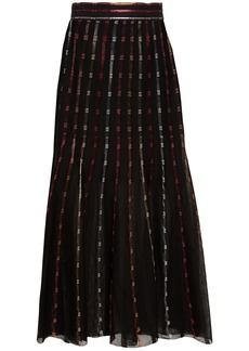 Alexander Mcqueen Woman Metallic Crochet-knit Silk-blend Midi Skirt Black